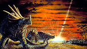 Prehistoric scene of dinosaurs with meteor impact behind