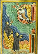 Image of Cuthbert's death at Lindisfarne