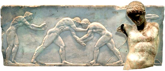 Wrestlers are seen on 510 B.C. sculpture, at the National Archaeological Museum in Athens
