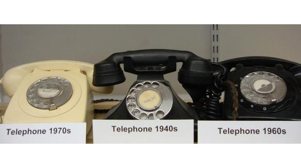 A collection of telephones