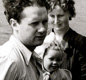 Dylan Thomas with his daughter and wife, Caitlin, in a boat of the River Taff in Wales.