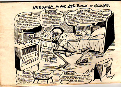 A cartoon of Nkrumah trying to keep track of the new from his exile in Guinea
