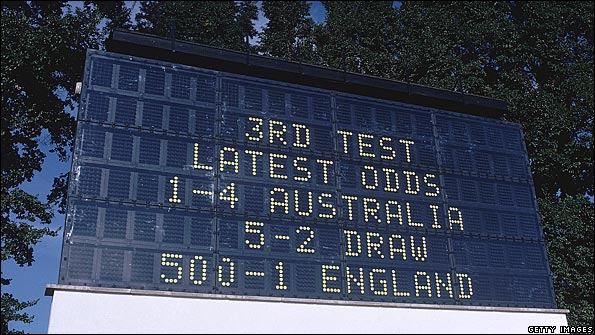 Scoreboard, Headingley, 1981; England are 500-1 to win