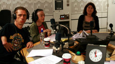 Mat Fraser, Liz Carr and producer Emma Tracey