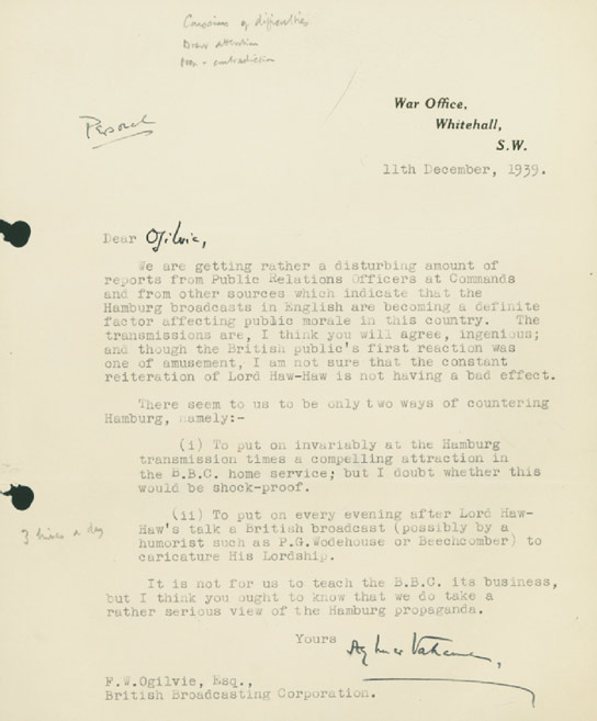bbc archive lord haw haw a letter from the war office whitehall