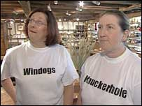 Women wearing t-shirts emblazoned with  Windogs and  Knuckerhole