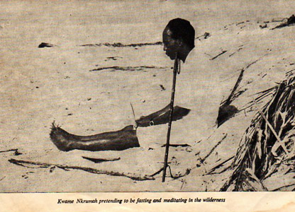 Kwame Nkrumah photographed looking contemplative in the desert