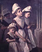 Portrait showing three girls by Sophia Anderson