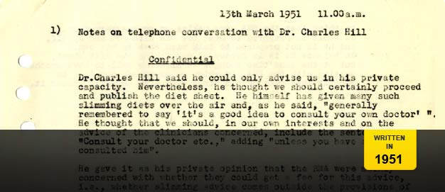 A memo from the BBC Archives about dieting.