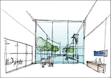 Sketch of new Facebook headquarters lobby