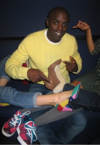 Crazy Shoes and Trevs Yellow Jumper