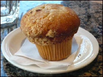 A muffin on a plate