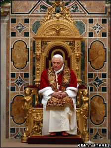 Pope Benedict XVI attends his annual meeting with Holy See Diplomats at the Vatican's Hall of the Throne, 7 January 2008