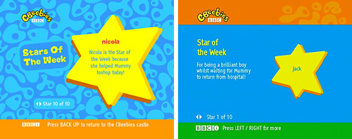 Star of the Week page on Sky and Freeview
