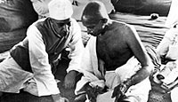 Mahatma Gandhi and Pandit J. Nehru during the All India Congress Committee Session, 1942, when the 'Quit India' resolution was adopted