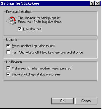 Settings for StickyKeys Dialog box