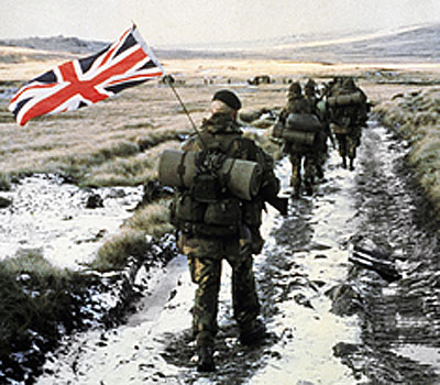 A column of 45 Royal Marine Commandoes march towards Port Stanley.