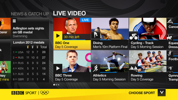 Screenshot of BBC Sport on IPTV, with yellow Sport branding, medal table, and video options