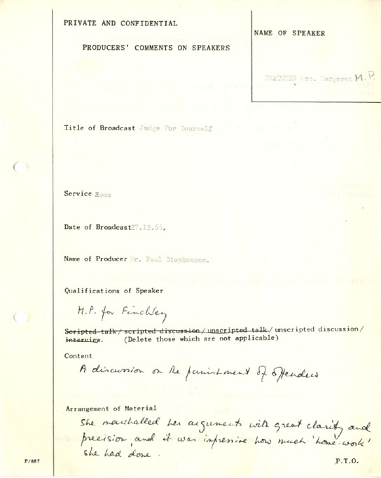 Document - Production notes about Margaret Thatcher in 1966.