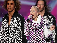 Aaron Right Performing With Kylie Minogue