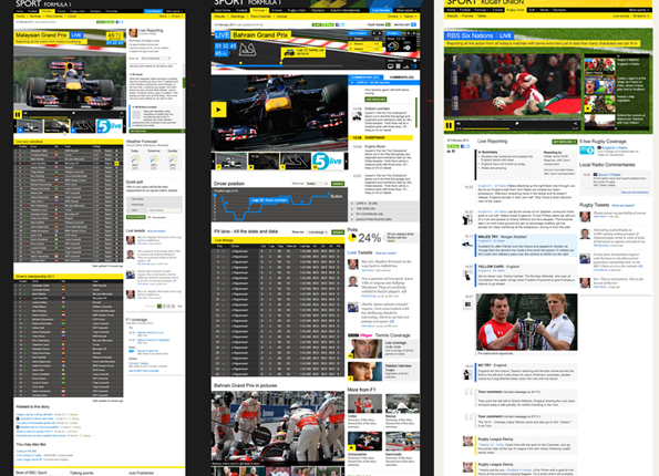 Three live event mock-ups, showing a combination of scores, video, and text updates.