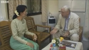 Aung San Suu Kyi and John Simpson