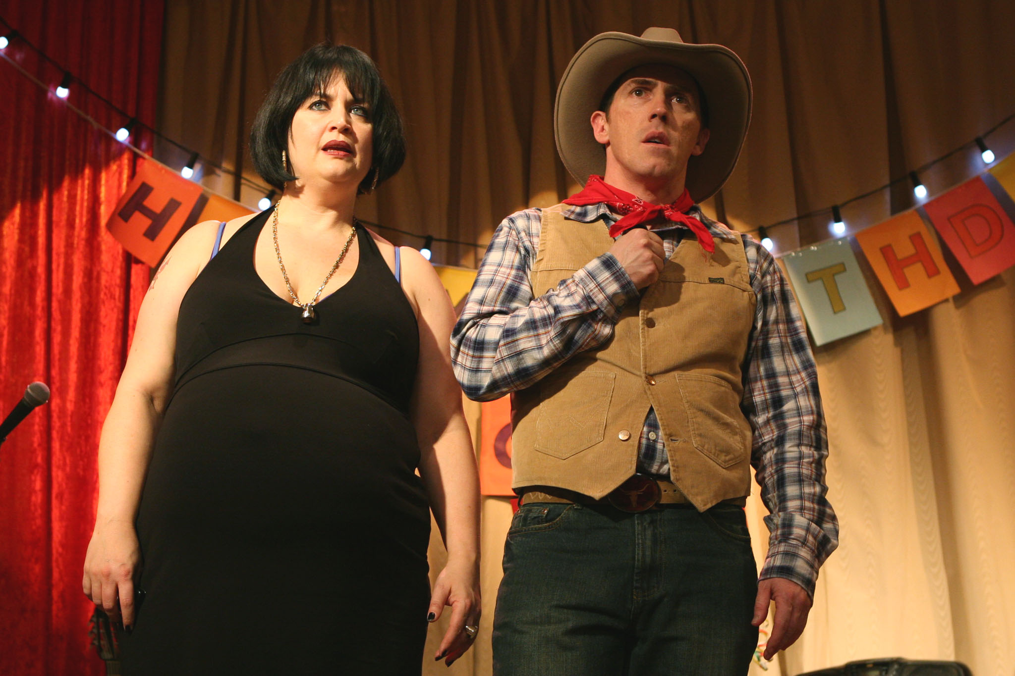Ruth Jones as Nessa and Rob Brydon as Uncle Bryn in Gavin and Stacey