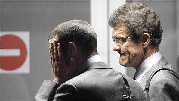 Fabio Capello makes his exit from South Africa