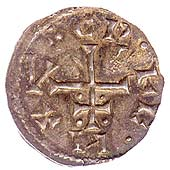 Image of coin from Viking York showing Christian cross