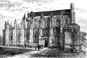 Black-and-white sketch of Rosslyn Chapel