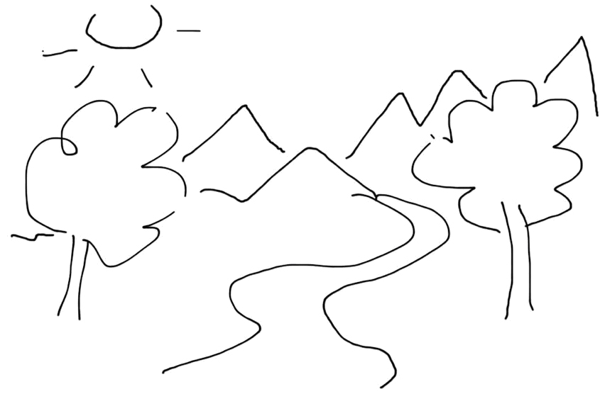 A drawing of a landscape.