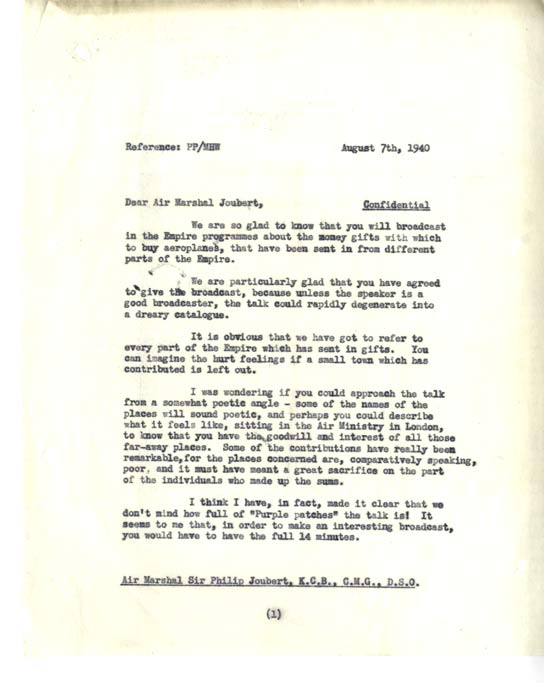 Page one of letter from the BBC to Air Marshall Joubert about wartime donations.