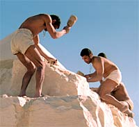 A reconstruction of pyramid-builders working on the Great Pyramid