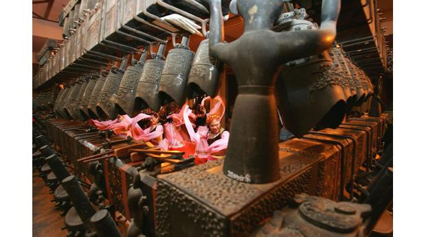 An ancient set of bells is used during New Year celebrations in modern China. Photo: Cancan Chu/Getty Images