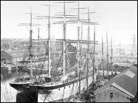 A ship in dock in Liverpool