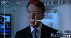Business Secretary Lord Mandelson seen on the display of a video camera during a visit to Visual Planet in Cambridge, Cambridgeshire. PRESS ASSOCIATION Photo. Picture date: Tuesday July 28, 2009