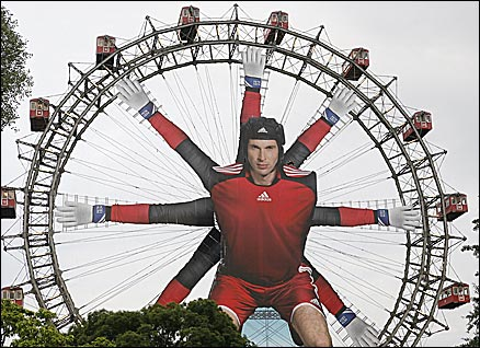 Peter Cech's image adorns the ferris wheel