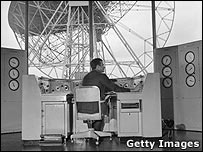 The control room of the Lovell Radio Telescope at Jodrell Bank in 1966 (c) Getty Images