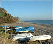 Branscombe Beach and boats