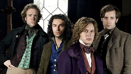 (l-r) Rafe Spall as William Holman Hunt, Aidan Turner as Dante Gabriel Rossetti, Samuel Barnett as John Millais, Sam Crane as Fred Walters