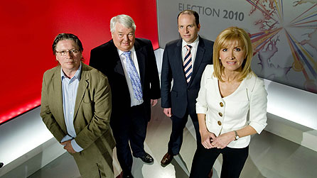 The BBC Scotland team who will present in-depth coverage as the results roll in on the night of the election, May 6. From left: Derek Bateman, Brian Taylor, Glenn Campbell and Jackie Bird