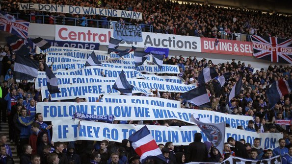 Rangers fans showed their loyalty in the Premier League game against  Kilmarnock. Photo  Getty 0f2a49f42