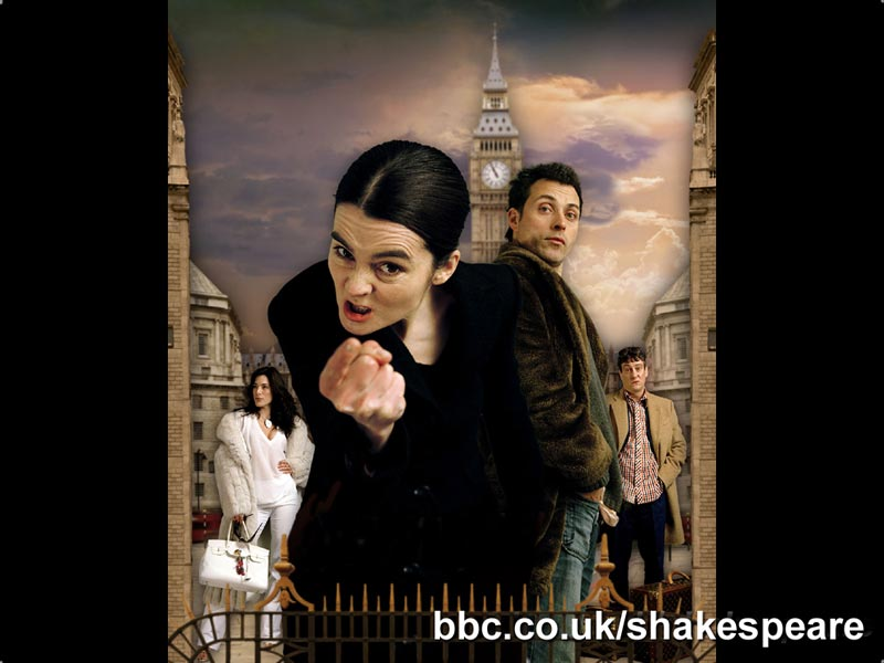 Left to right - Jaime Murray as Bianca Minola, Shirley Henderson as Kate Minola, Rufus Sewell as Petruchio and Stephen Tompkinson as Harry.