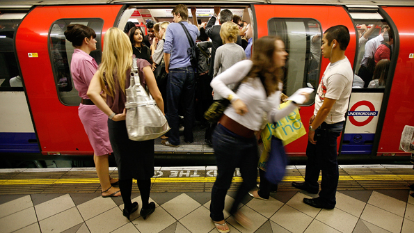 People on a crowded London Underground tube