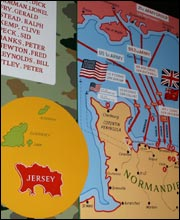 Map showing the Normandy peninsular with routes of the D-Day invasion from Britain