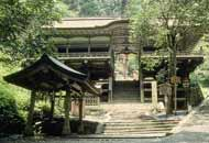 Wooden shrine building in traditional Japanese style