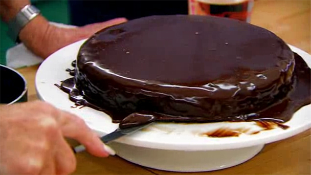 Sacher torte with poured ganache