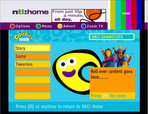 CBeebies homepage on cable in 2002