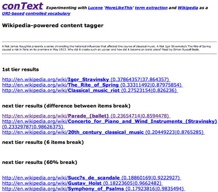 conText results page
