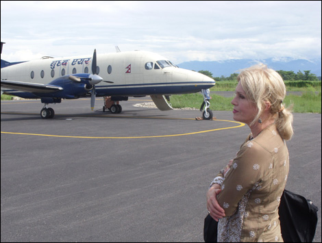 28th July: Joanna Lumley after landing in Jhapa.